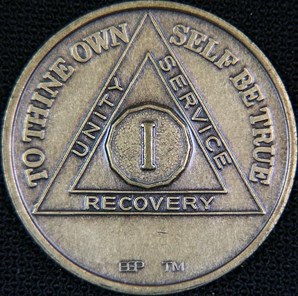 1 Year Bronze Sobriety Chip Recovery12