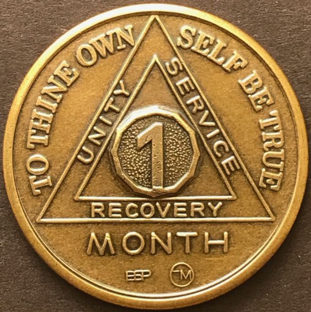 1 Month Sobriety Chip BRONZE