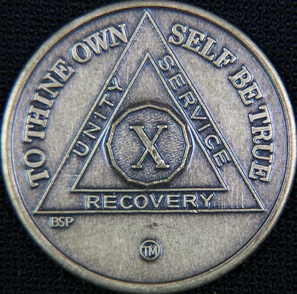 10 Year Bronze Sobriety Chip