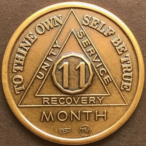 11 Month Sobriety Chip BRONZE