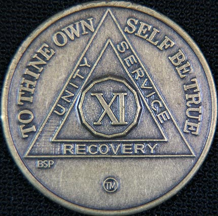 11 Year Bronze Sobriety Chip