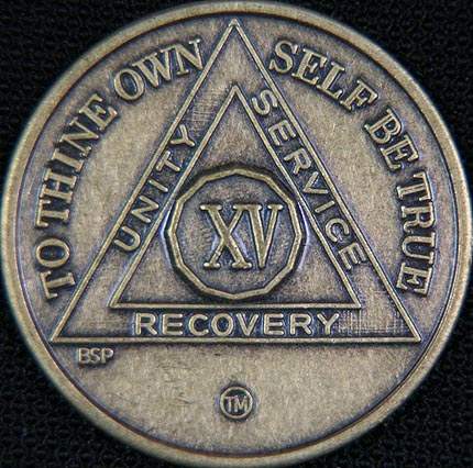 15 Year Bronze Sobriety Chip