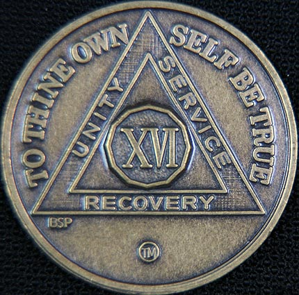 16 Year Bronze Sobriety Chip