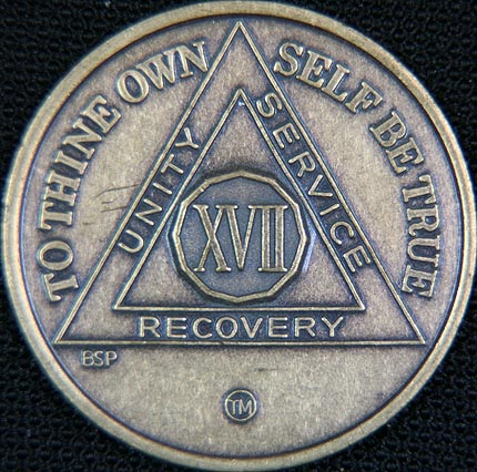 17 Year Bronze Sobriety Chip