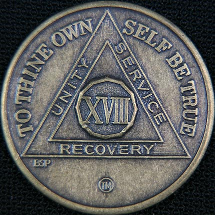 18 Year Bronze Sobriety Chip