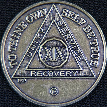 19 Year Bronze Sobriety Chip