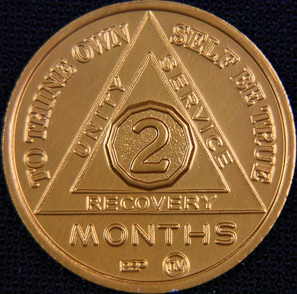 2 Month Sobriety chip Aluminium Gold