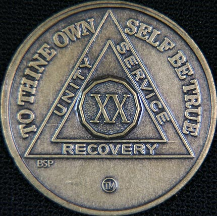 20 Year Bronze Sobriety Chip