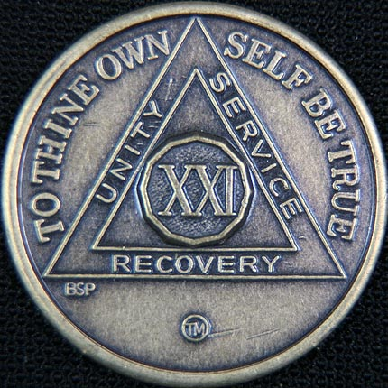 21 Year Bronze Sobriety Chip