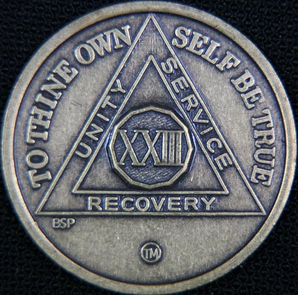 23 Year Bronze Sobriety Chip