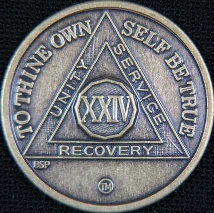 24 Year Bronze Sobriety Chip