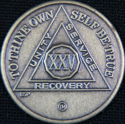 25 Year Bronze Sobriety Chip