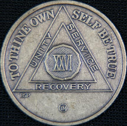26 Year Bronze Sobriety Chip