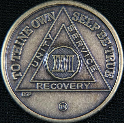 27 Year Bronze Sobriety Chip