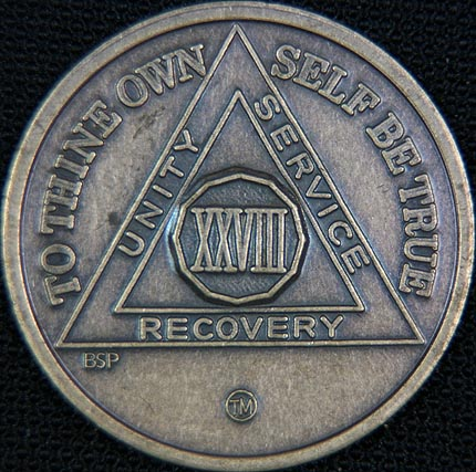 28 Year Bronze Sobriety Chip