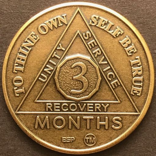 3 Month Sobriety Chip BRONZE