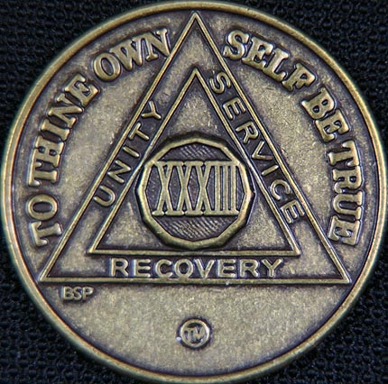 33 Year Bronze Sobriety Chip