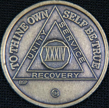 34 Year Bronze Sobriety Chip