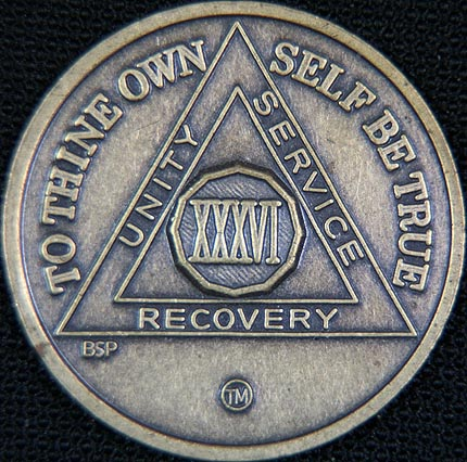 36 Year Bronze Sobriety Chip