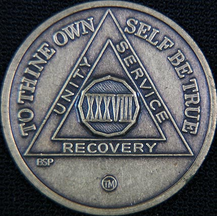38 Year Bronze Sobriety Chip