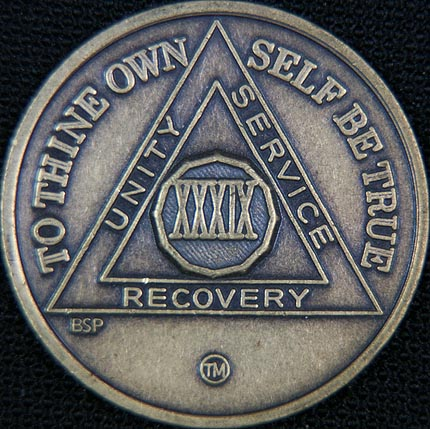 39 Year Bronze Sobriety Chip