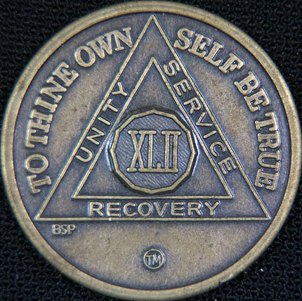 42 Year Bronze Sobriety Chip