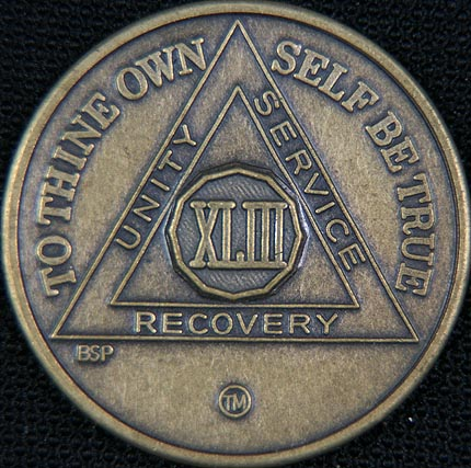 43 Year Bronze Sobriety Chip