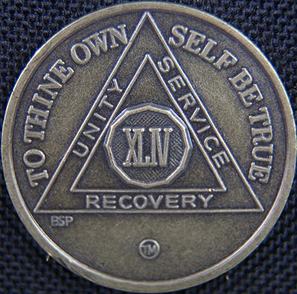 44 Year Bronze Sobriety Chip