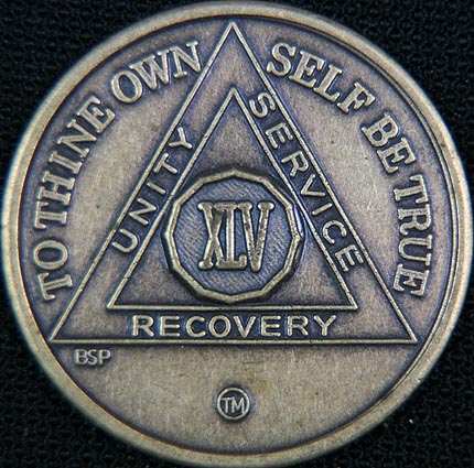 45 Year Bronze Sobriety Chip