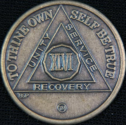 46 Year Bronze Sobriety Chip