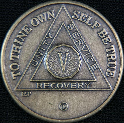 5 Year Bronze Sobriety Chip