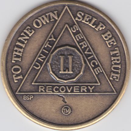 51 Year Bronze Sobriety Chip