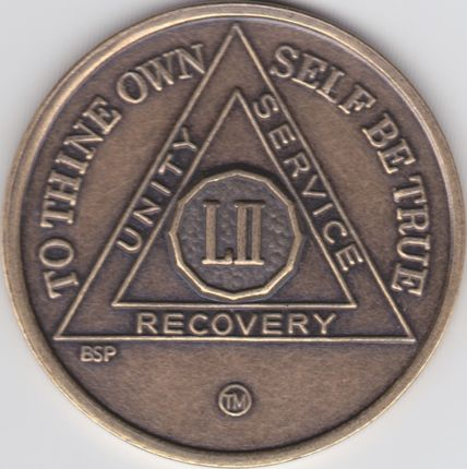 52 Year Bronze Sobriety Chip