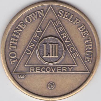 53 Year Bronze Sobriety Chip