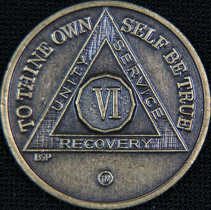6 Year Bronze Sobriety Chip