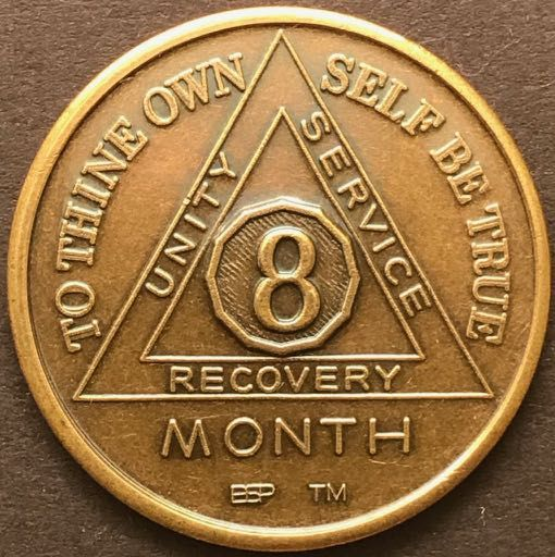 8 Month Sobriety Chip Bronze