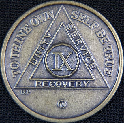 9 Year Bronze Sobriety Chip