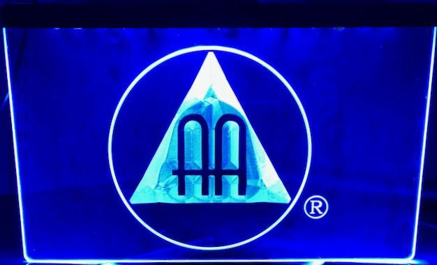 AA Hanging Sign Illuminated Blue