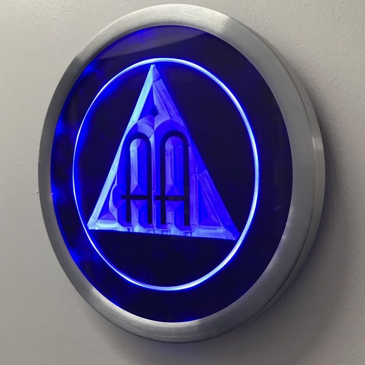 Illuminated AA meeting sign