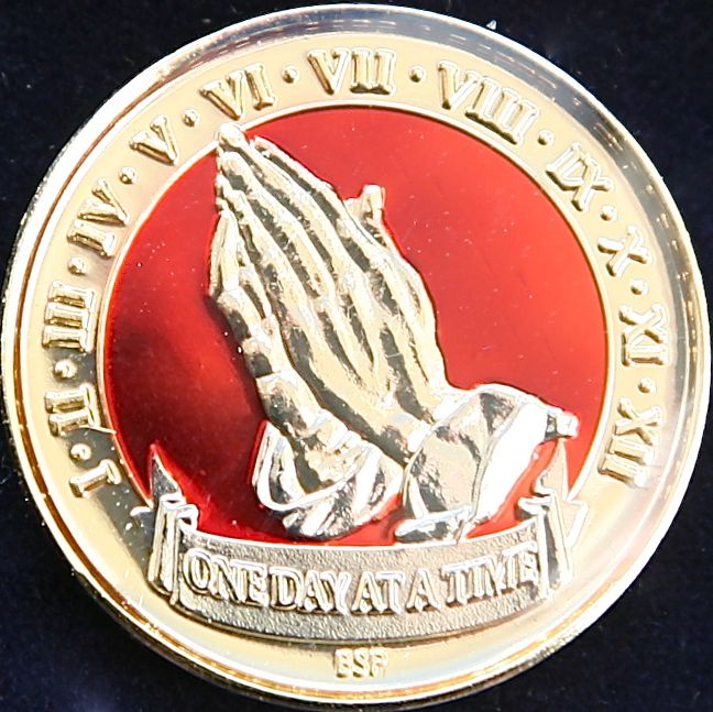 Praying Hands, One Day At A Time. Red Tri Plate.