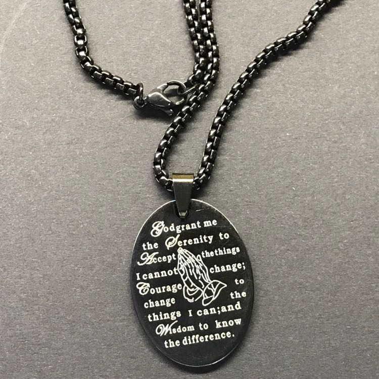 Praying Hands Serenity Prayer Necklace
