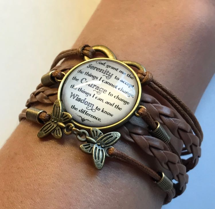 Serenity Prayer Brown Leather Bracelet