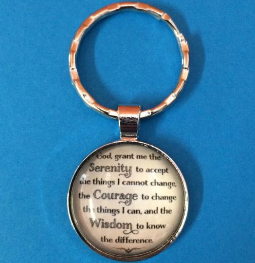 Serenity Prayer Glass Front Round Keyring