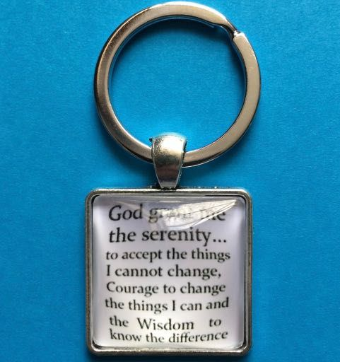 Serenity Prayer Glass Front Square Key Ring