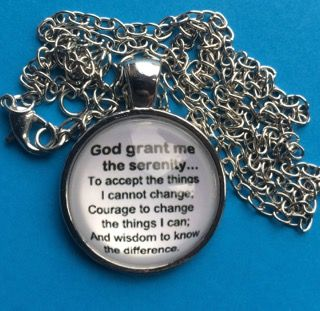 Serenity Prayer Round Glass front Pendant Necklace